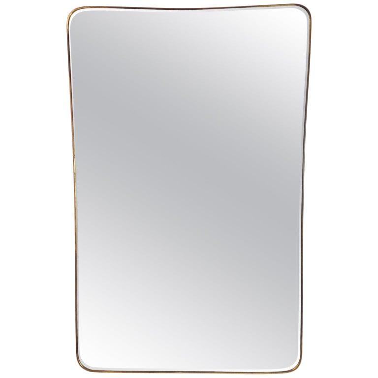Midcentury Italian Fine large Brass Wall Mirror in Gio Ponti Style, Milano