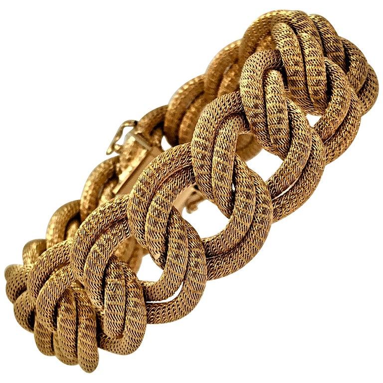 Midcentury Italian Finely Woven Gold Mesh Link Bracelet For Sale