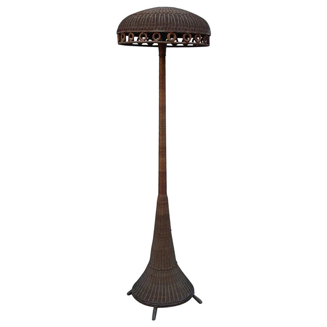 Midcentury Italian Floor Lamp Bamboo Italian Design, 1940s