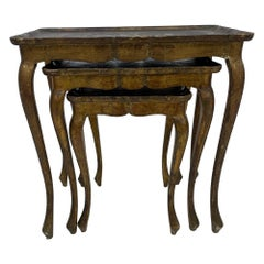 Italian Florentine Neoclassical Nesting Tables Giltwood Scallop 1960s ITALY