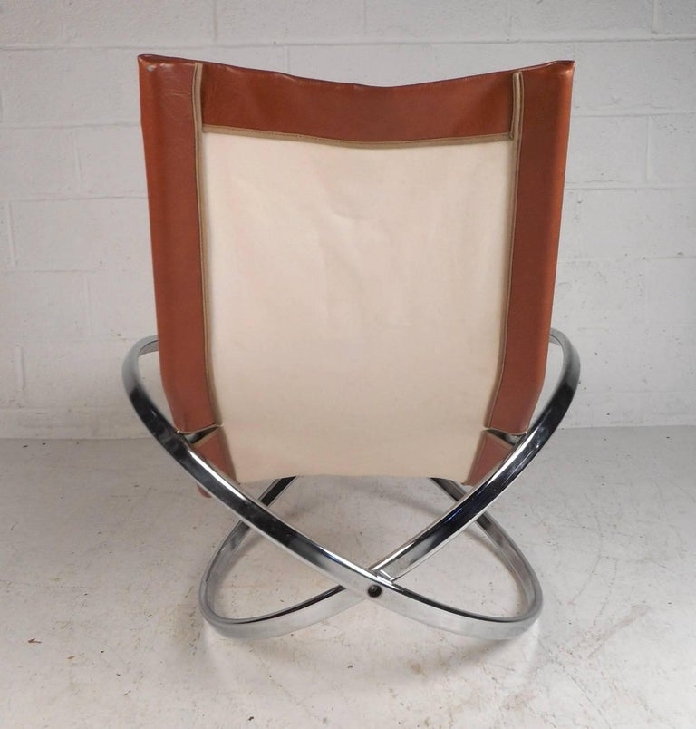 Late 20th Century Midcentury Italian Folding Chaise Lounge Rocker