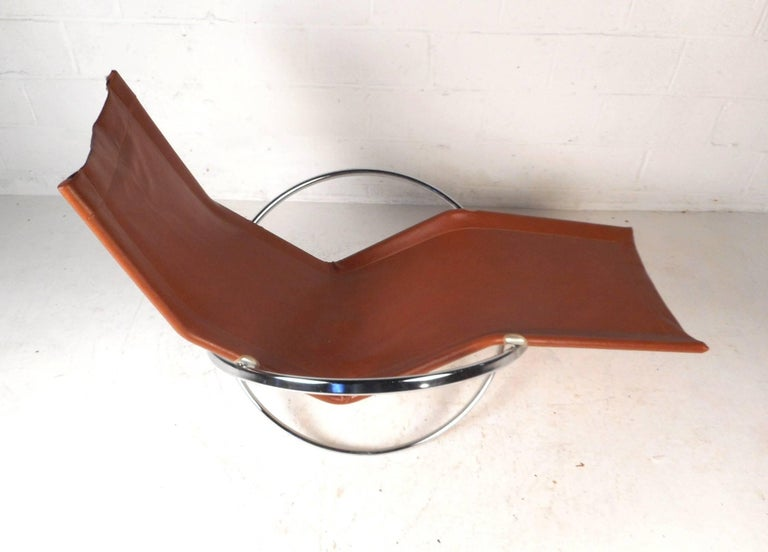 Leather Midcentury Italian Folding Chaise Lounge Rocker