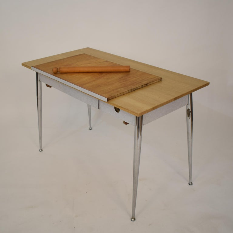 Mid-Century Modern Midcentury Italian Formica Kitchen Pasta Table with Tapered Chrome Legs, 1950 For Sale