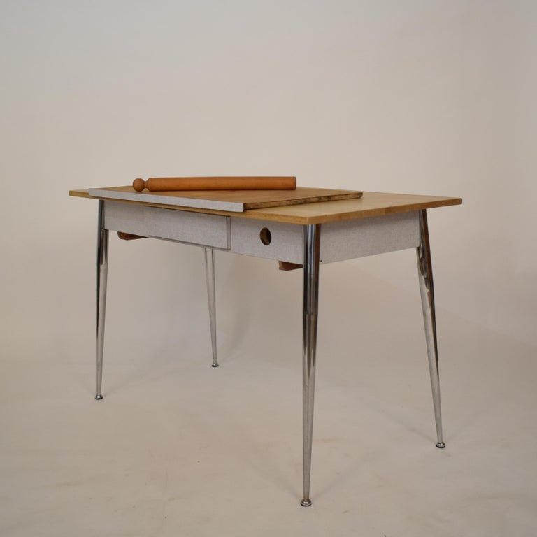 Mid-20th Century Midcentury Italian Formica Kitchen Pasta Table with Tapered Chrome Legs, 1950 For Sale