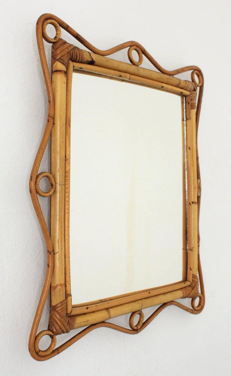 Mid-Century Modern Franco Albini Style Bamboo and Rattan Rectangular Mirror, Italy, 1960s