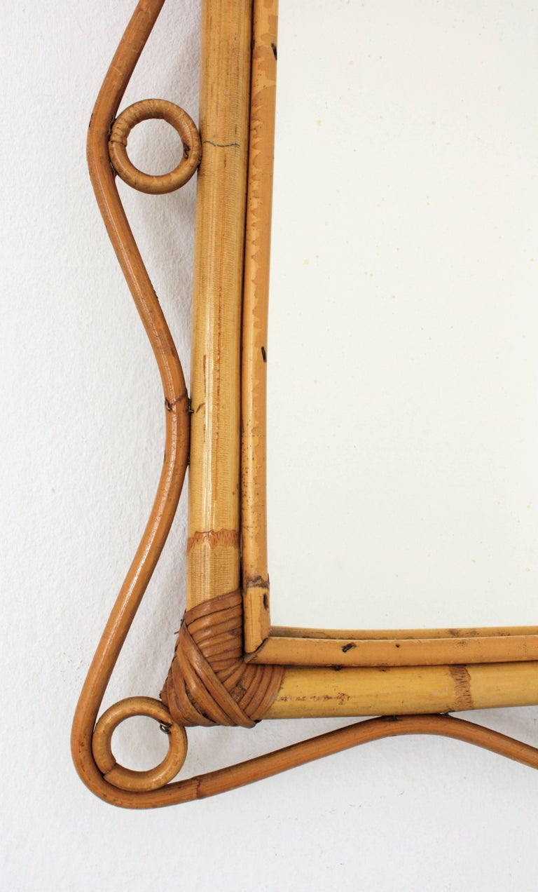 Italian Franco Albini Style Bamboo and Rattan Rectangular Mirror, Italy, 1960s