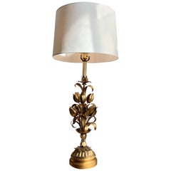 Midcentury Italian Gilt Flower Table Lamp, circa 1950s