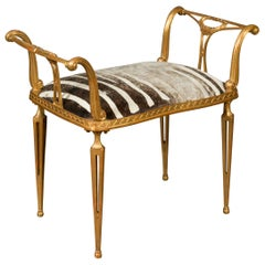 Midcentury Italian Gilt Iron Bench with Scrolling Armrests and Zebra Upholstery