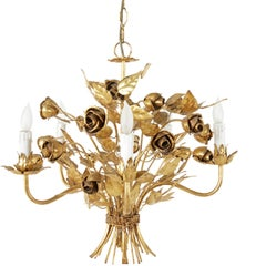 Midcentury Italian Gilt Metal Chandelier with Five Lights