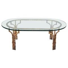 Midcentury Italian Gilt Metal Faux- Bamboo Glass Top Coffee Table