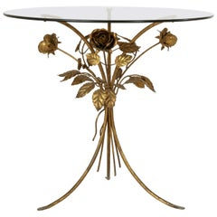 Midcentury Italian Gilt Metal Side Table with Roses and Smoked Glass Top
