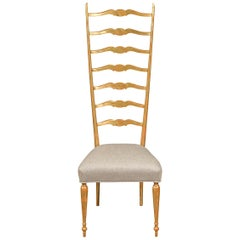 Midcentury Italian Giltwood High Ladder Back Chair with New Upholstery