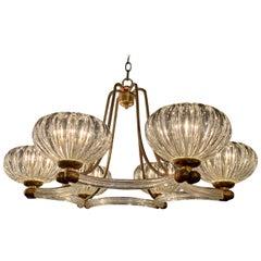 Midcentury Italian Glass and Brass 6-Light Chandelier