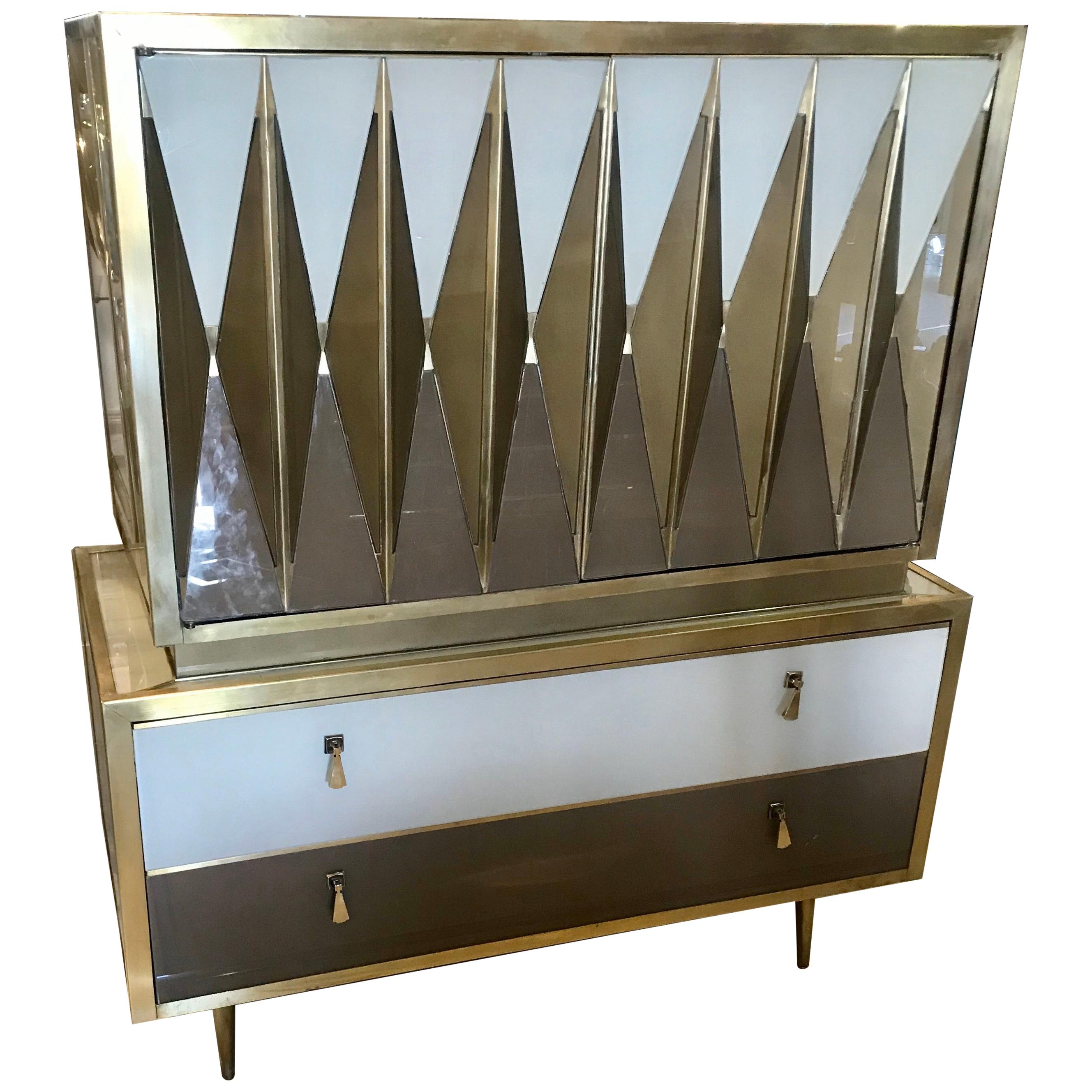 Midcentury Italian Glass and Brass Chest of Drawers
