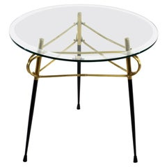 Midcentury Italian Glass and Brass Coffee Table