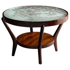 Midcentury Glass Coffee Table by K. Kozelka & A. Kropacek  Interier Praha 1944