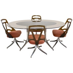 Midcentury Italian Glass Dining Table and Chairs Set of 4, 1960s