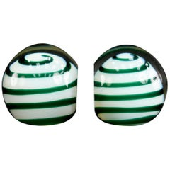 Midcentury Italian Glass Swirl Bookends