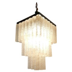 Midcentury Italian Glass Tube Chandelier