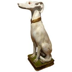 Midcentury Italian Glazed Terracotta Whippet Statue