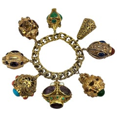 Midcentury Italian Gold Etruscan Revival Charm Bracelet -8 Assorted Color Charms