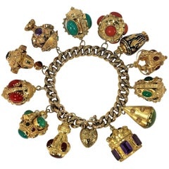 Midcentury Italian Gold Etruscan Revival Charm Bracelet-12 Assorted Color Charms