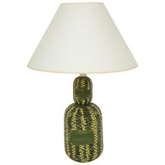 Midcentury Italian Green and Yellow Ceramic Table Lamp