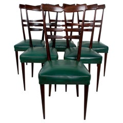 Midcentury Italian Green Dining Chairs Set of 6, after Ico Parisi