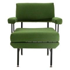 Midcentury Italian Green Fabric and Metal Armchair, 1950s