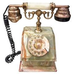 Midcentury Italian Green Onix and Gilded Bronze Phone