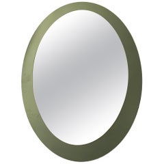 Midcentury Italian Green Oval Mirror Framed Mirror