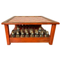 Midcentury Italian Hand Carved and Painted Medieval Style Chess Set and Table