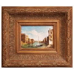 Midcentury Italian Harbor Scene Oil Painting in Gilt Frame Signed