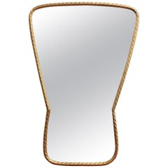 Midcentury Italian Keyhole-Shaped Wall Mirror with Rope Pattern Brass Frame
