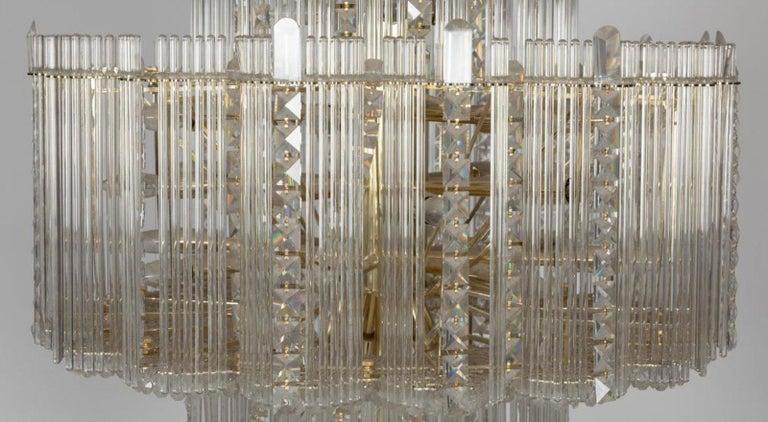 Mid-Century Modern Midcentury Italian Leaded Glass & Brass Chandelier Gaetano Sciolari, Monumental For Sale