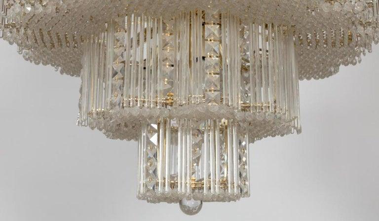 Midcentury Italian Leaded Glass & Brass Chandelier Gaetano Sciolari, Monumental In Fair Condition For Sale In Brooklyn, NY