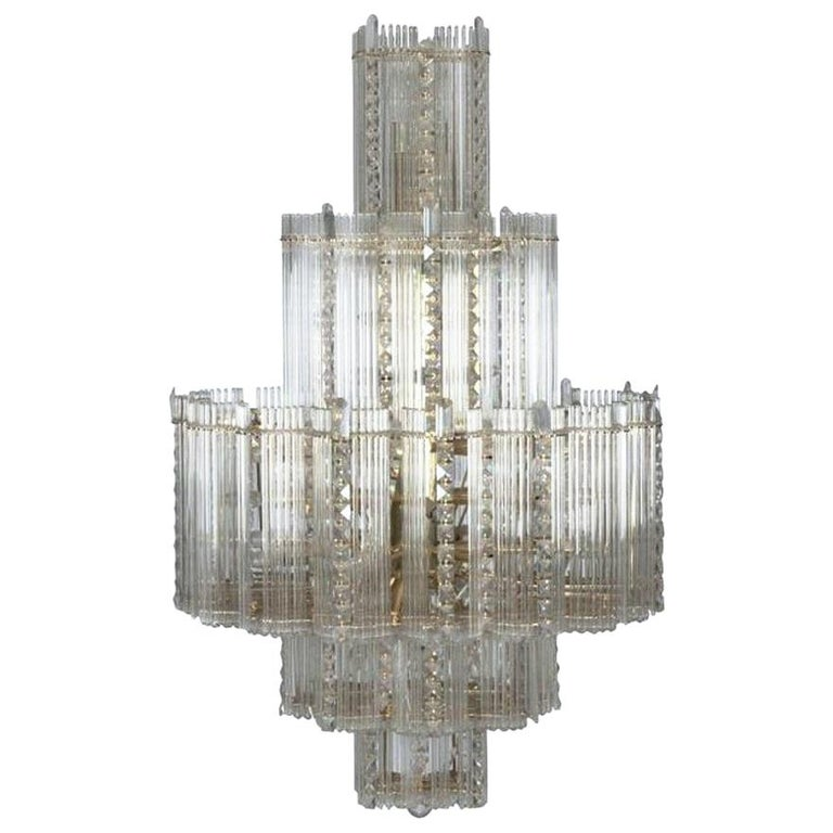Midcentury Italian Leaded Glass & Brass Chandelier Gaetano Sciolari, Monumental For Sale