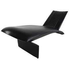 Midcentury Italian Leather Chaise Lounge