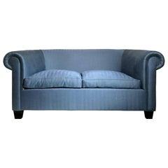 Midcentury Italian Library Sofa in Blue Herringbone