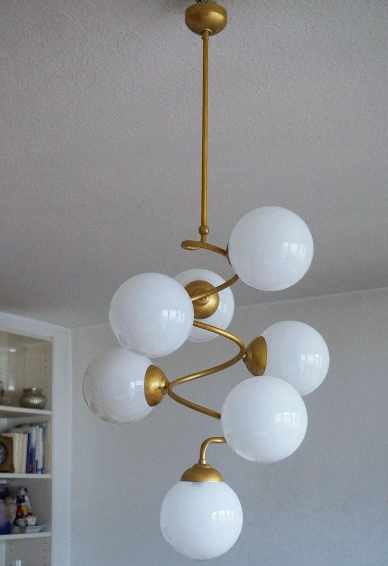 Stilnovo Style Brass Hand Blown Opaline Glass Spiral Chandelier, Italy, 1960s For Sale 4