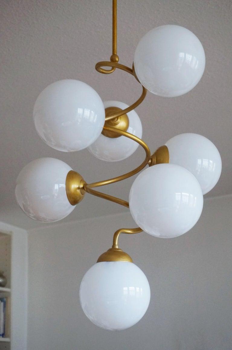 Mid-Century Modern Stilnovo Style Brass Hand Blown Opaline Glass Spiral Chandelier, Italy, 1960s For Sale