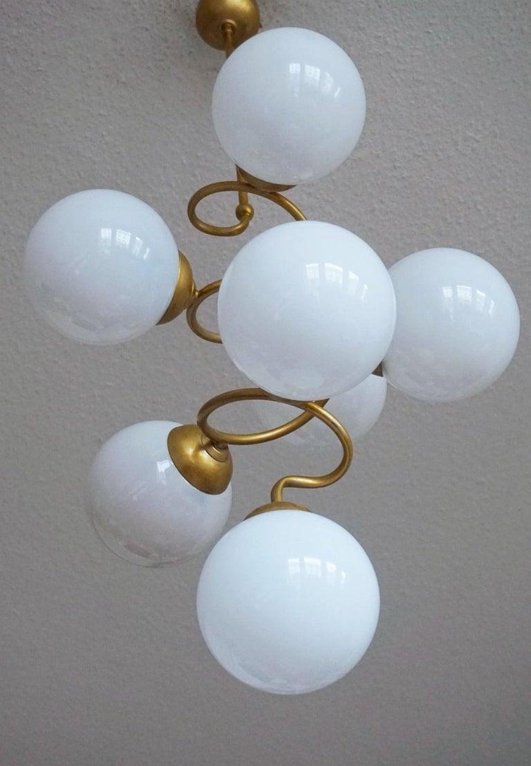 Italian Stilnovo Style Brass Hand Blown Opaline Glass Spiral Chandelier, Italy, 1960s For Sale