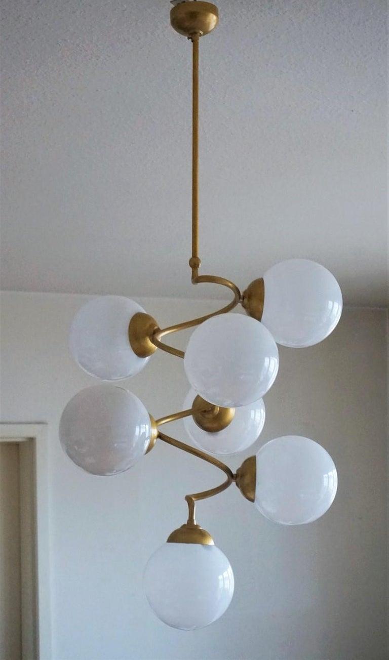 20th Century Stilnovo Style Brass Hand Blown Opaline Glass Spiral Chandelier, Italy, 1960s For Sale