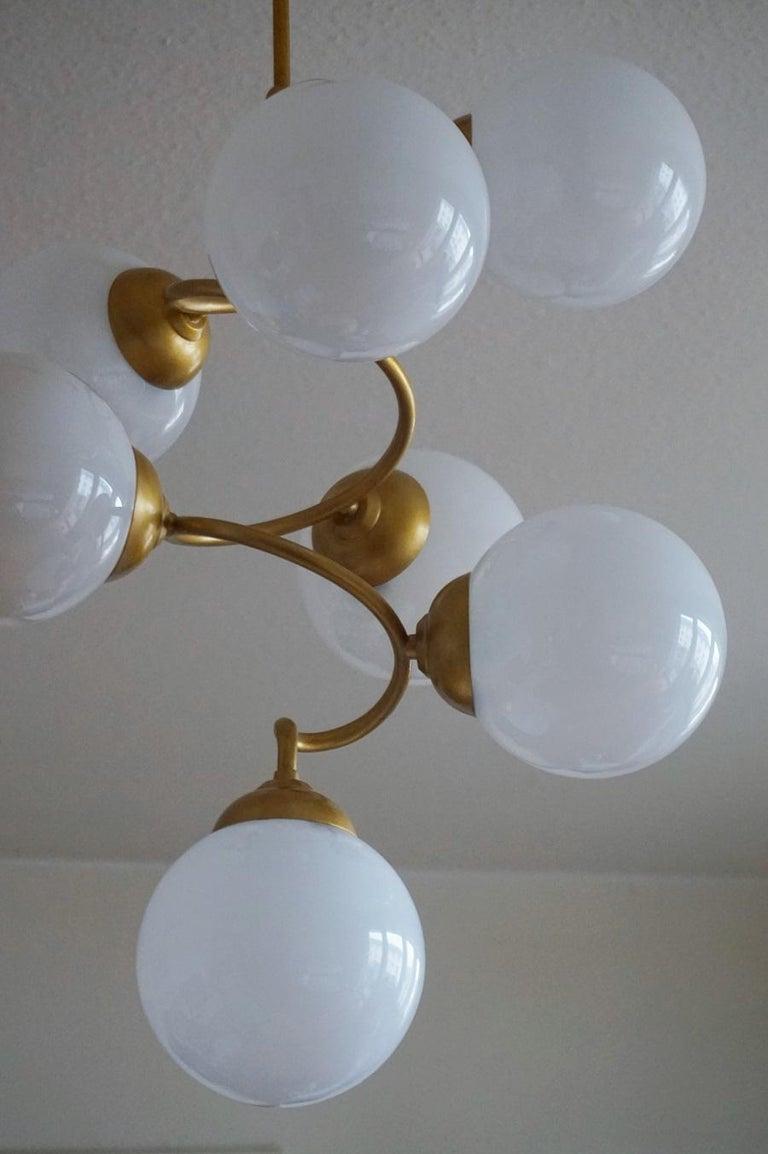 Stilnovo Style Brass Hand Blown Opaline Glass Spiral Chandelier, Italy, 1960s For Sale 1