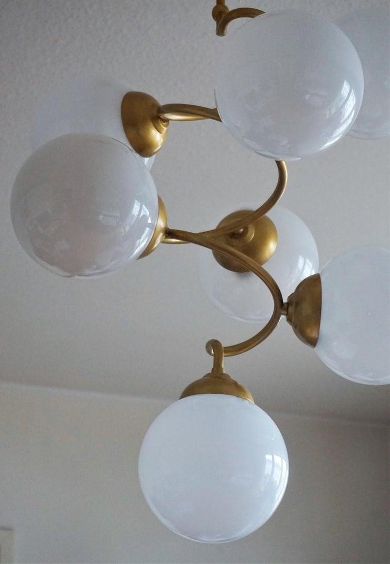 Stilnovo Style Brass Hand Blown Opaline Glass Spiral Chandelier, Italy, 1960s For Sale 2