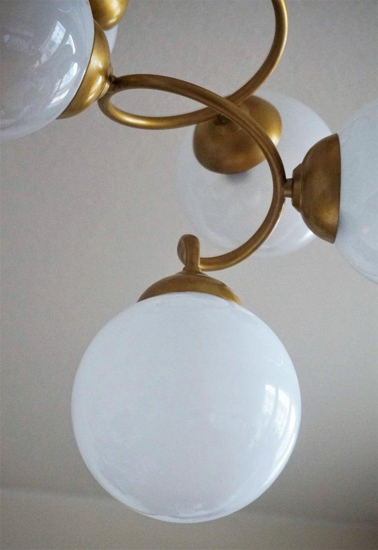 Stilnovo Style Brass Hand Blown Opaline Glass Spiral Chandelier, Italy, 1960s For Sale 3