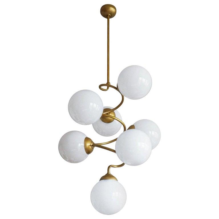 Stilnovo Style Brass Hand Blown Opaline Glass Spiral Chandelier, Italy, 1960s For Sale