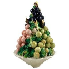 Midcentury Italian Majolica Grape Vine Bunch Ceramic Topiary Table Center