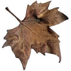 Midcentury Italian Maple Leaf Trinket Tray in Bronze