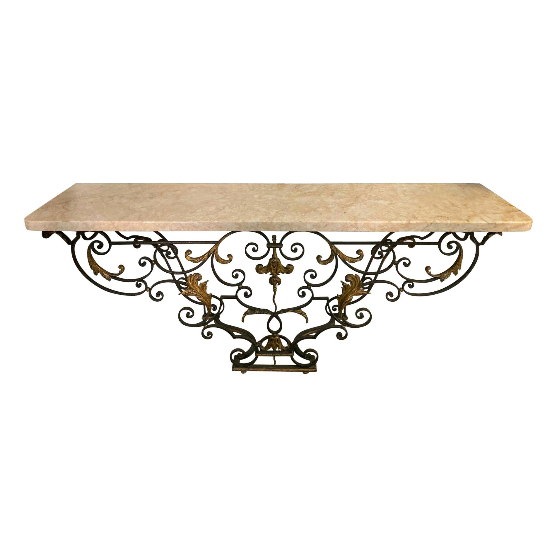 Midcentury Italian Marble and Iron Console